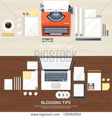 Vector illustration.  Flat typewriter.Laptop with hands. Tell your story. Author. Blogging. Wood texture