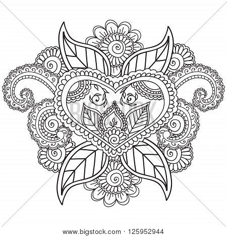 Coloring pages for adults. Henna Mehndi Doodles Abstract Floral Paisley Design Elements, Mandala, Vector Illustration. Coloring book. Coloring pages for adults.