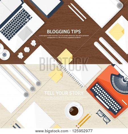 Vector illustration.  Flat typewriter.Laptop with hands. Tell your story. Author. Blogging.