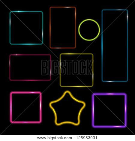 Neon Frame,  Buttons on Checkered  Abstract Transparent Background. Vector Illustration. EPS10