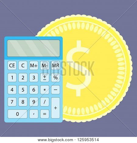 Count money on calculator. Money and money counting machine counting and money counter counting coins and calculator financial calculate and saving budget. Vector flat design illustration