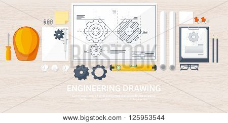 Vector illustration. Engineering and architecture. Drawing, construction.  Architectural project. Design, sketching. Workspace with tools. Planning and building. Wood background.