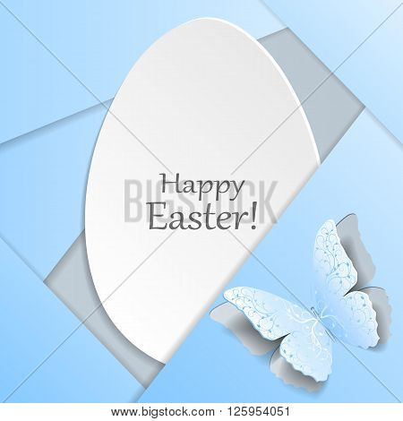 Happy Easter greeting card. White egg and blue butterfly with plant pattern cut out of paper. Material design style.