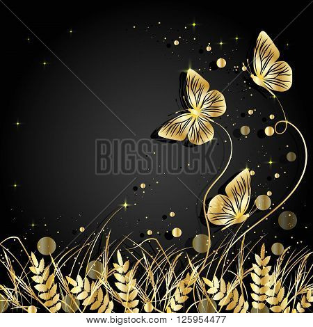 Beautiful natural background with silhouettes of grass and butterflies. Gold illustration on dark background.