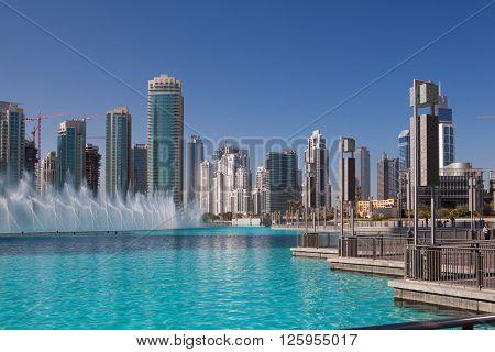 Dubai - February 72012: Dancing fountains.The Dubai Dancing fountains are world's largest fountains with height 150 m.