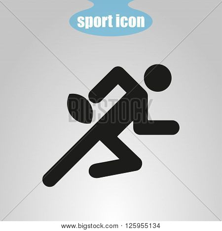 icon of rugby player on a gray background. Vector illustration