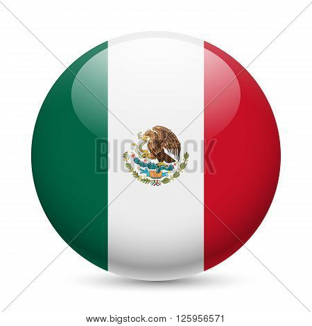 Flag of Mexico as round glossy icon. Button with Mexican flag