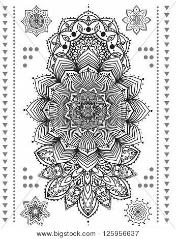 Mandala set and other elements. Vector. Mandala tattoo. Perfect  cards for any other kind of design, birthday and other holiday, kaleidoscope,  medallion, yoga, india, arabic