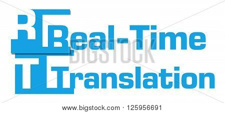 Real-time translation concept image with text over colorful background.