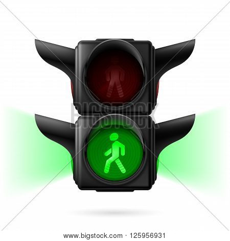Realistic pedestrian traffic lights with green light on and sidelight. Illustration on white background