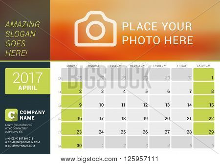 April 2017. Desk Calendar For 2017 Year. Vector Design Print Template With Place For Photo, Logo And