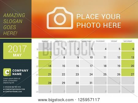 May 2017. Desk Calendar For 2017 Year. Vector Design Print Template With Place For Photo, Logo And C