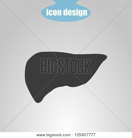 Icon of liver on a gray background. Vector illustration