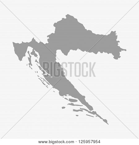 Map of Croatia in gray on a white background