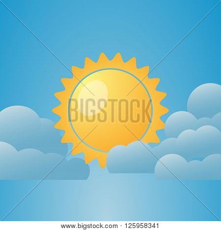 Illustration of weather conditions. Partly Cloudy. Vector illustration