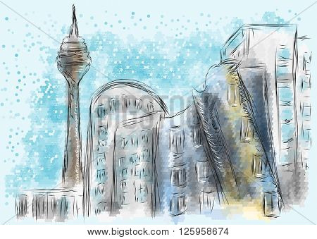 dusseldorf. abstract silhouette of city on multicolor background
