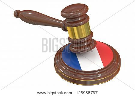 Wooden Gavel with Flag of France 3D rendering