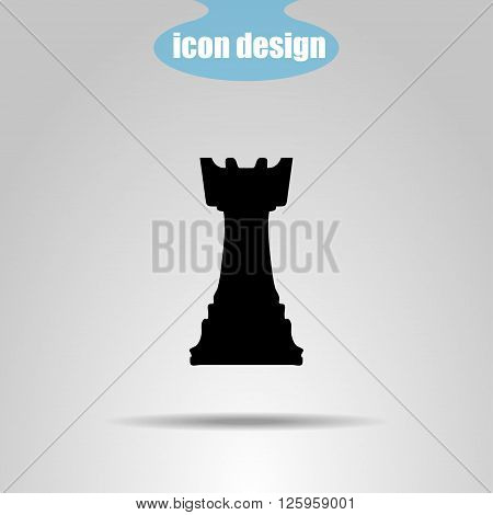 Icon chess piece on a gray background. Vector illustration. Rook