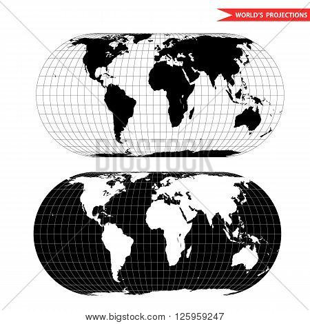eckert world map projection. Black and white world map vector illustration.