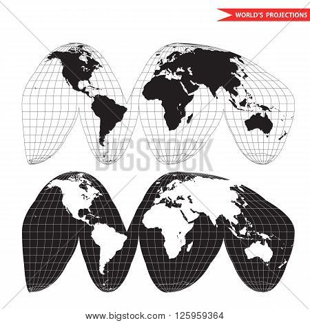 Goode homolosine projection. Orange peel world map on white background. Interrupted earth globe.