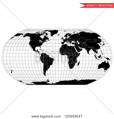 Robinson map projection of a world map which shows entire world at e as a flat image. Black and white world map vector illustration