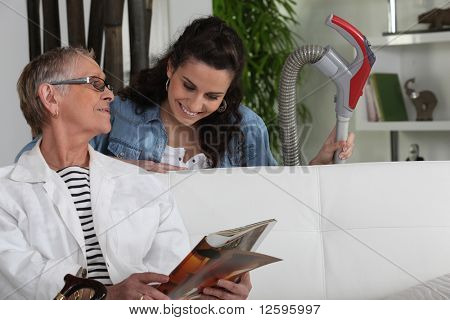 Senior woman and home help