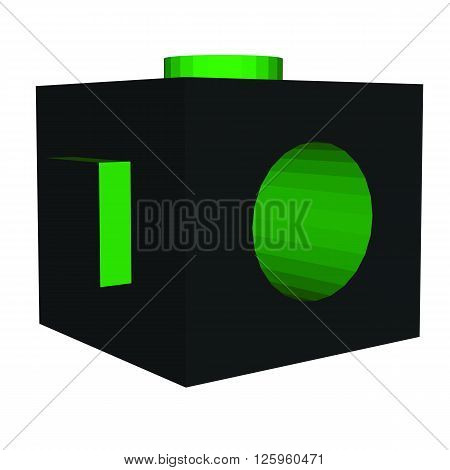 Vector colorful cube 3d green black box