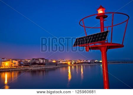 Razanac coastal village and red sea beacon night view Dalmatia Croatia