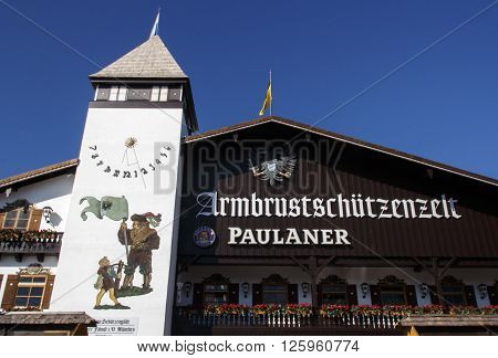MUNICH, GERMANY - OCTOBER 02, 2015: Facade of the Armbrustschuetzenzelt with the balcony and beautiful paintings