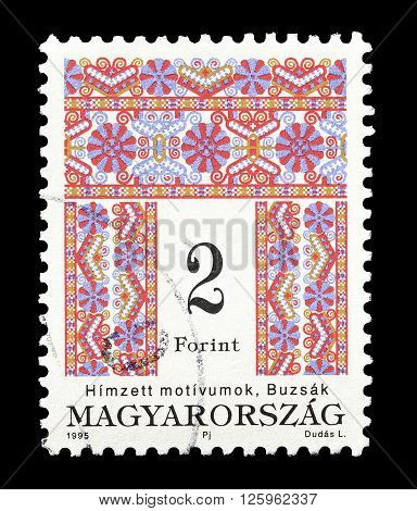HUNGARY - CIRCA 1995 : Cancelled postage stamp printed by Hungary, that shows Folk motive.
