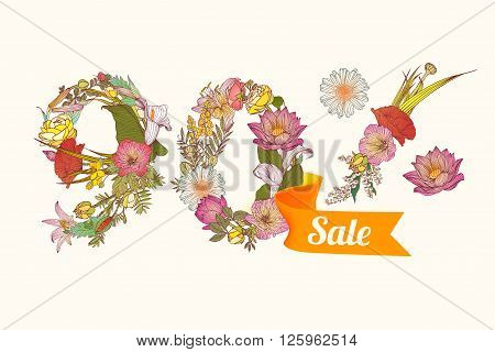 ninety (90) percents sale. Floral vector digits