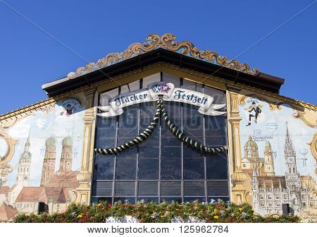 MUNICH, GERMANY - OCTOBER 02: Facade of the Hacker Festzelt (Himmel der Bayern) on Theresienwiese during Oktoberfest