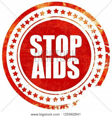 stop aids, isolated red stamp on a solid white background