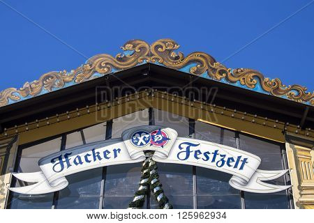 MUNICH, GERMANY - OCTOBER 02, 2015: Facade of the Hacker Festzelt (Himmel der Bayern) at Oktoberfest