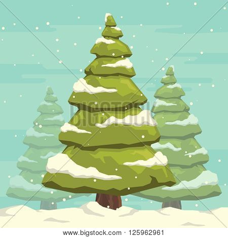 Christmas tree with snow. Winter landscape. Forest background. Christmas tree. vector. Forest. Winter forest.