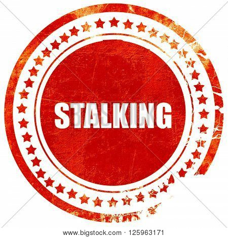 stalking, isolated red stamp on a solid white background
