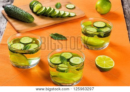 Very Fat Burning Detox Drink - Sassy Water: sliced cucumber lime and mint in the glasses