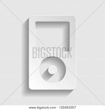 Portable music device. Paper style icon with shadow on gray
