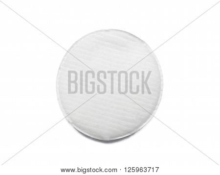 Cotton pad for make-up removal isolated on white