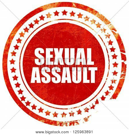 sexual assault, isolated red stamp on a solid white background