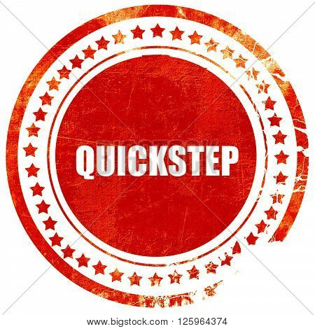 quickstep, isolated red stamp on a solid white background