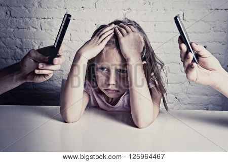hands of internet and network addict mother and father using mobile phone neglecting little sad ignored daughter bored and lonely feeling abandoned and disappointed in parents bad behavior concept