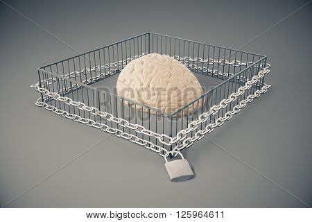 Lack of free thinking concept with brain locked in cage with chains on dark grey background. 3D Rendering