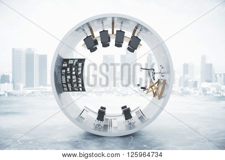 Abstract office interior inside concrete cylinder on foggy city background. 3D Rendering