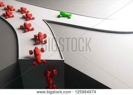 Different direction concept with abstract green car going in one direction and flow of red cars falling off cliff. 3D Rendering