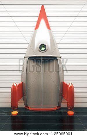 Success concept with rocket elevator. 3D Render