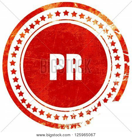 pr, isolated red stamp on a solid white background