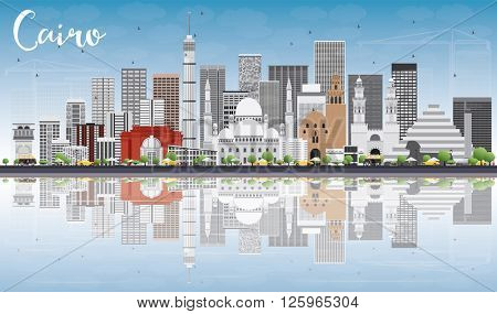 Cairo Skyline with Gray Buildings, Blue Sky and Reflections. Vector Illustration. Business Travel and Tourism Concept with Historic Buildings. Image for Presentation Banner Placard and Web Site.