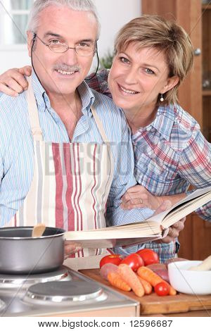 Senior couple cooking