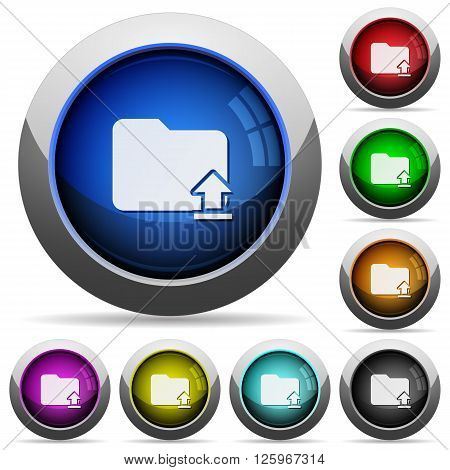 Set of round glossy upload folder buttons. Arranged layer structure.